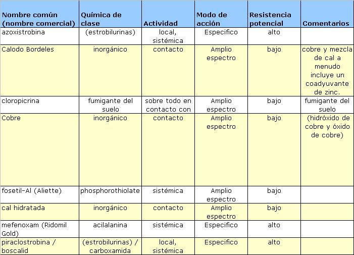 Propiedades generales de los fungicidas utilizados en los cítricos