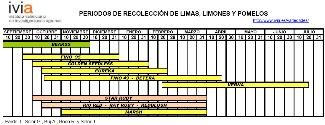 Produccion integrada citricos Calendario de recoleccion limas limones y pomelos