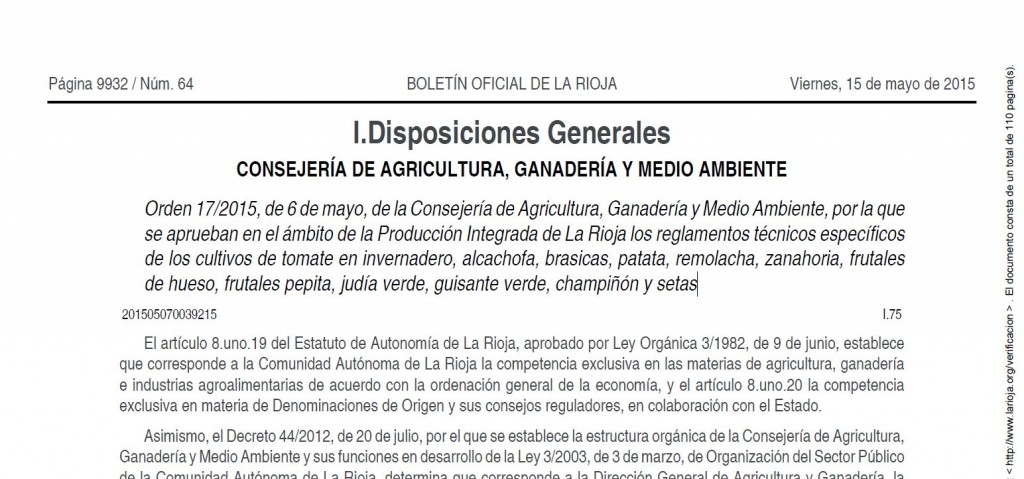 Procuccion integrada de la rioja